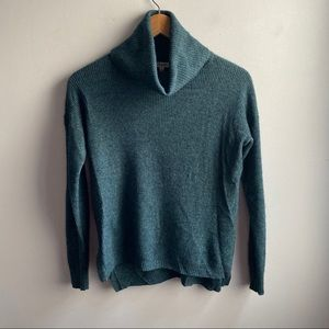 Madewell teal wool blend ribbed turtleneck sweater